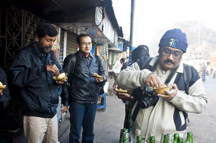 Wikipedians having Kachuri in Breakfast - Wikipedia Takes Kolkata V – Photowalk, Kolkata, India