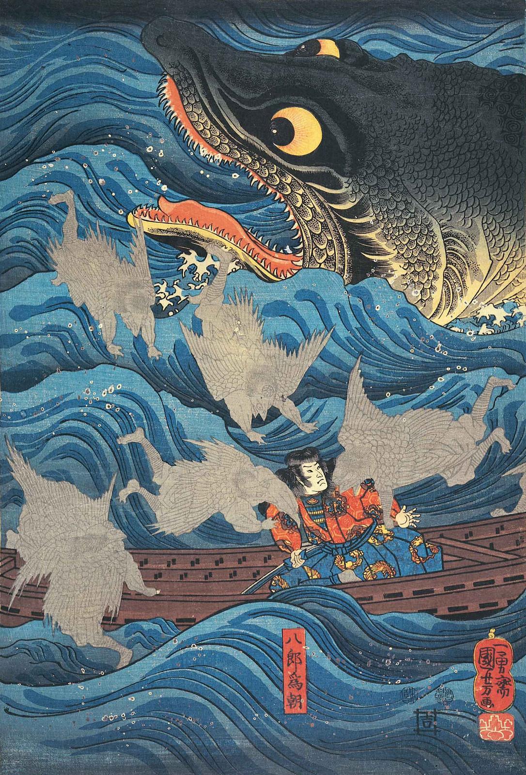 Utagawa Kuniyoshi - Retired Emperor Sanuki Sends Allies to Rescue Tametomo, Edo Period (left panel)