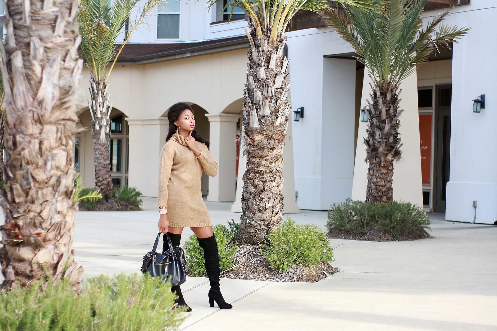 black asos boots camel asos sweater dress
