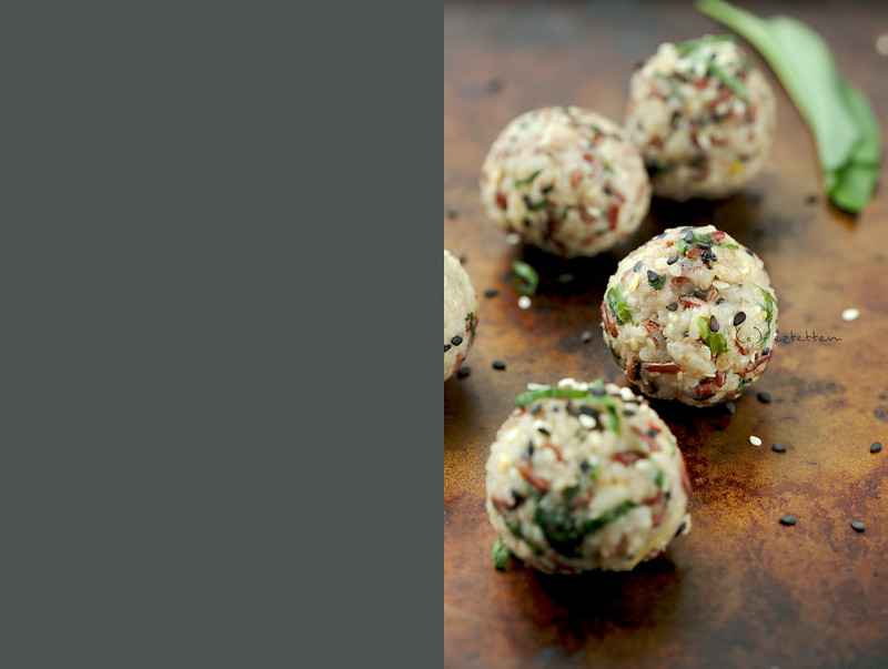sesame - almond rice balls