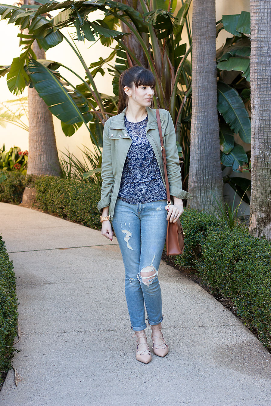 Silk Floral Blouse, Cargo Jacket
