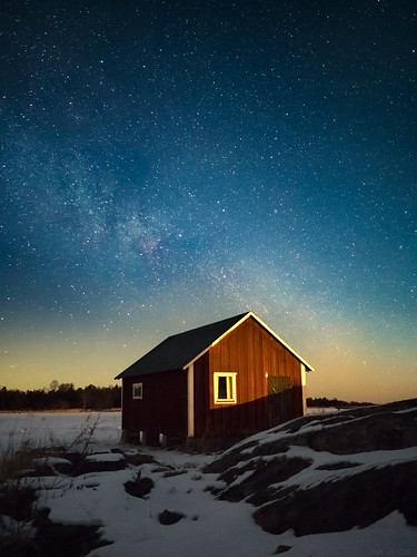 Boat house under the stars