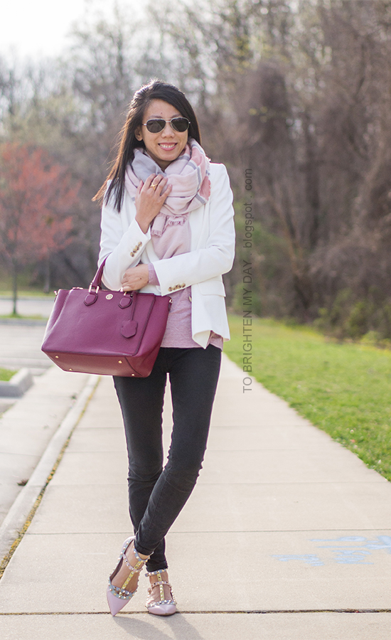 pink blanket scarf, white blazer, pink top, black jeans, watercolor studded flats