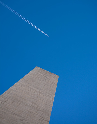 Washington Monument with plane