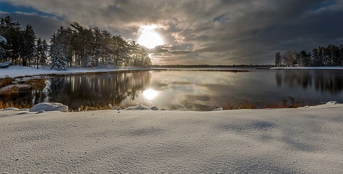 ocean trees winter sea cloud sun snow cold ice water reflections landscape frozen colours inlet