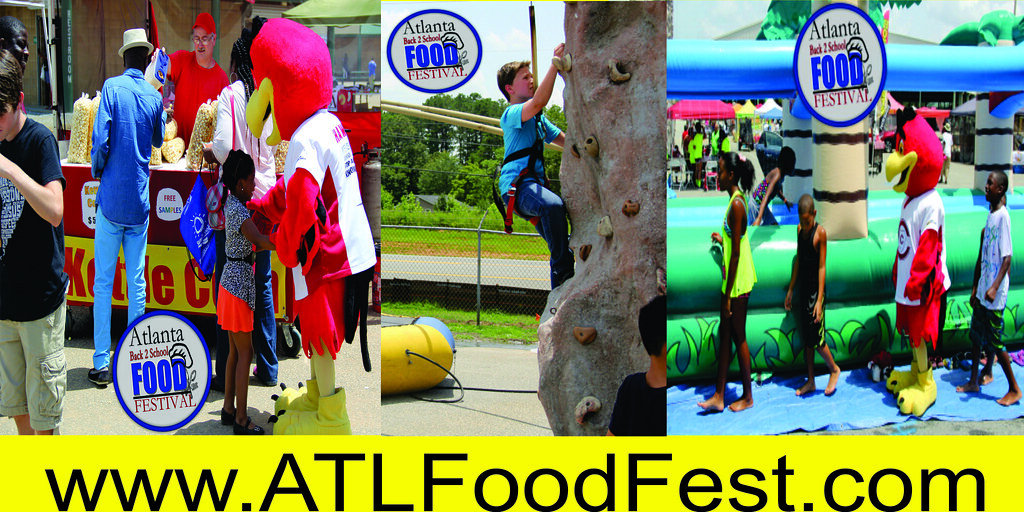 Atlanta Back 2 School Food Festival Fun zone water slides free school supplies giveaway summer free event for kids