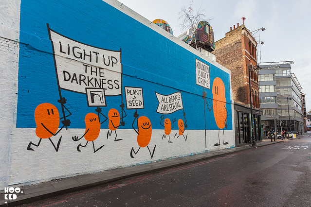 Berlin based street artist Dave The Chimp paints a #NotACrime London Mural