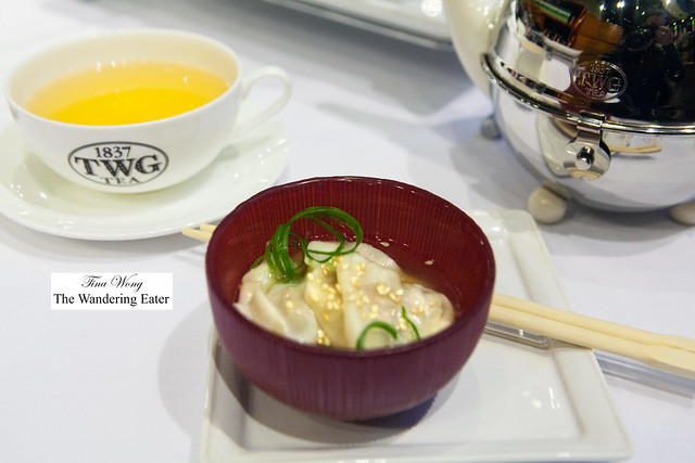 """Pork and Chive wontons in chicken and ginger broth with """"1837 black tea"""" oil"""