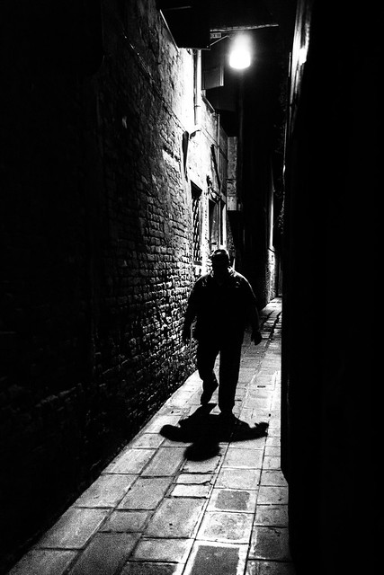 The big guy - Venice, Italy - Black and white street photography