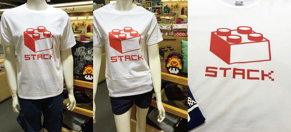 stack-經典積木-短T-白