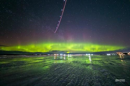 Northern Lights over H-Marker Lake in Bethel, Alaska.