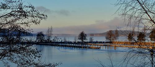 blue winter lake ice water suomi finland landscape pier maisema järvi vesijärvi järvimaisema
