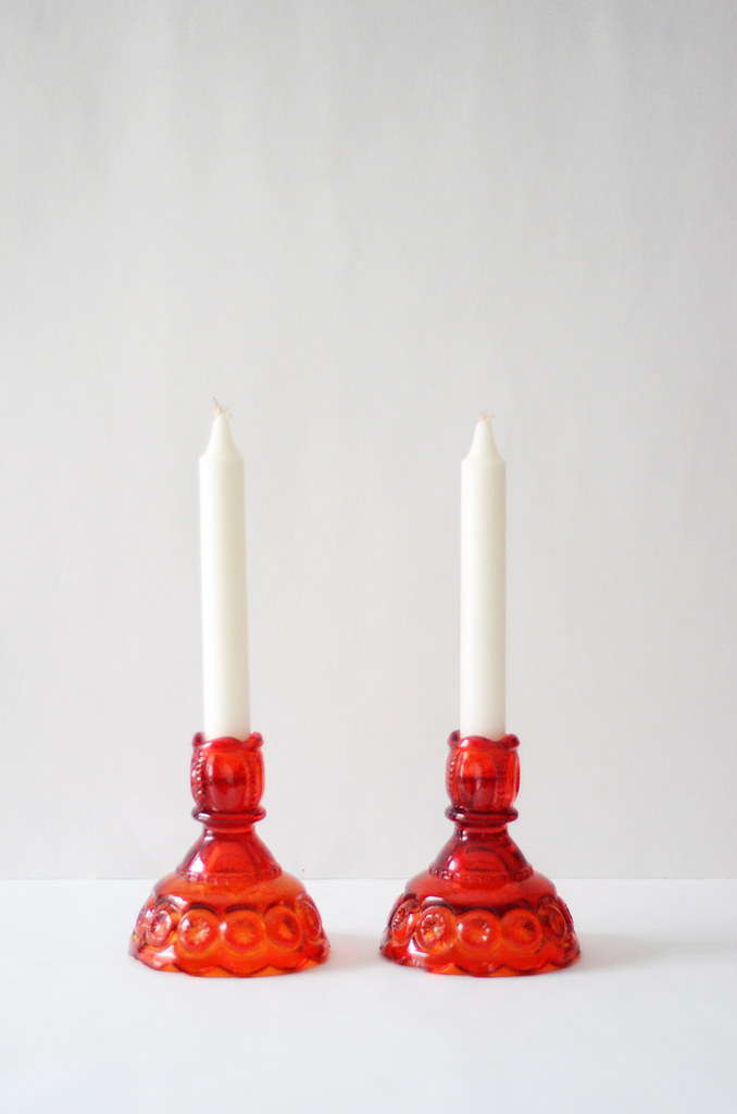 Two Vintage Red Orange Pressed Glass Candleholders