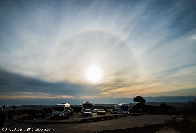 Rainbow around the sun, at the summit of Mt. Bental