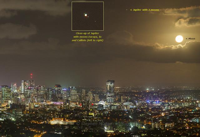 Moon and Jupiter over Brisbane