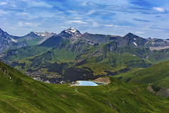 The Schilthorn and The lake of Fallboden .Taken from the Eiger Trail. No. 8026.
