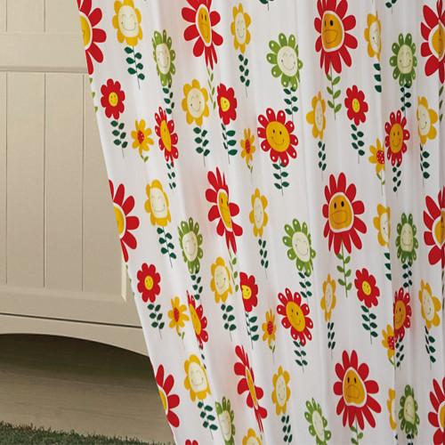 微笑花朵 童趣可愛花卉 半遮光窗簾布 DA890137