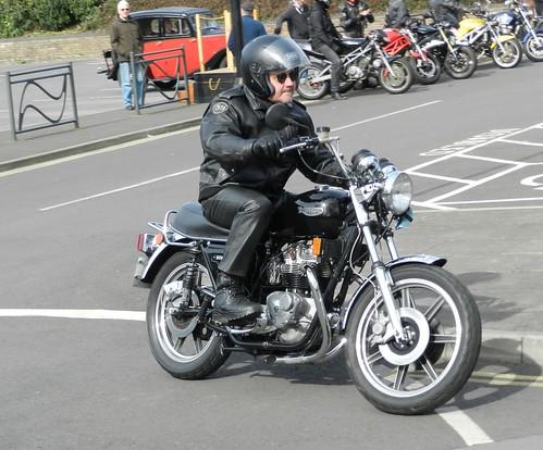 Motorcycles departing