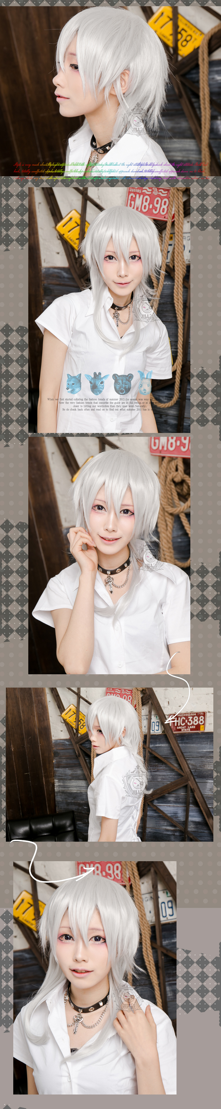 japan anime cosplay Touken Ranbu Mikazuki Munechika asymmetrical wig JPLH059