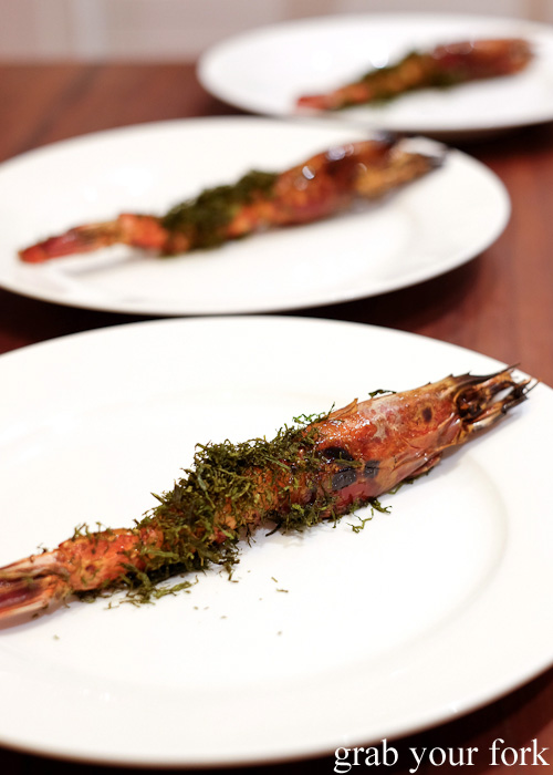 Charcoal grilled scarlet prawns with seaweed flakes