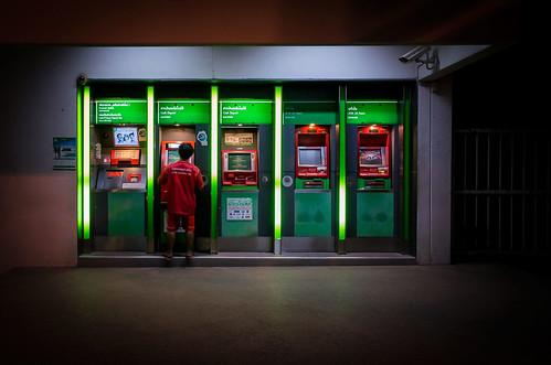 street city money night thailand machine cash thai atm trang
