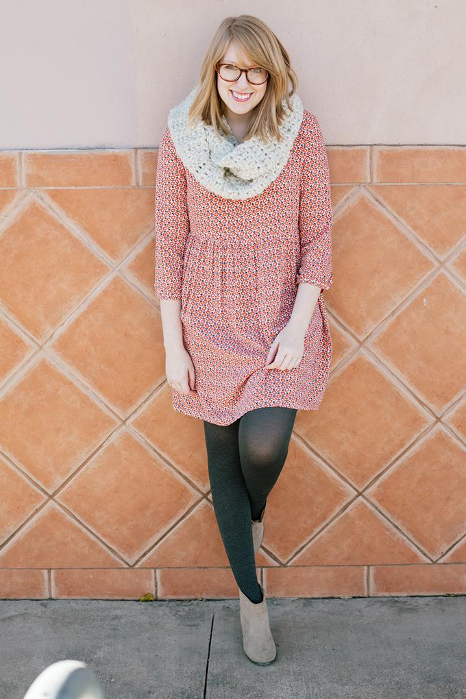 old navy smock dress knit scarf1