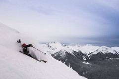 Skiing with full backpack