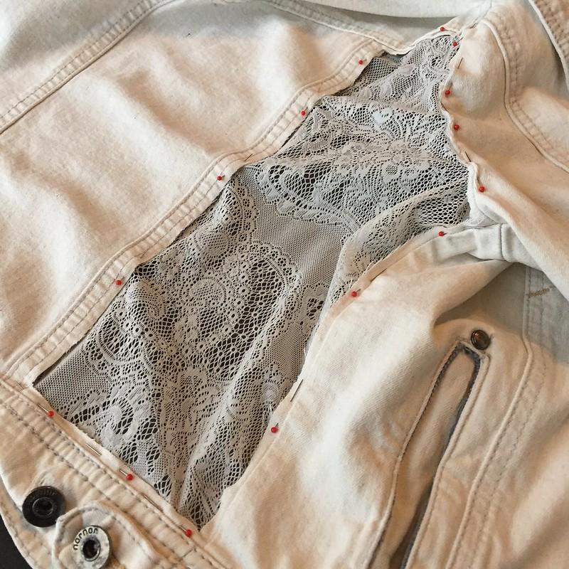 Lace Panel Denim Jacket - In Progress