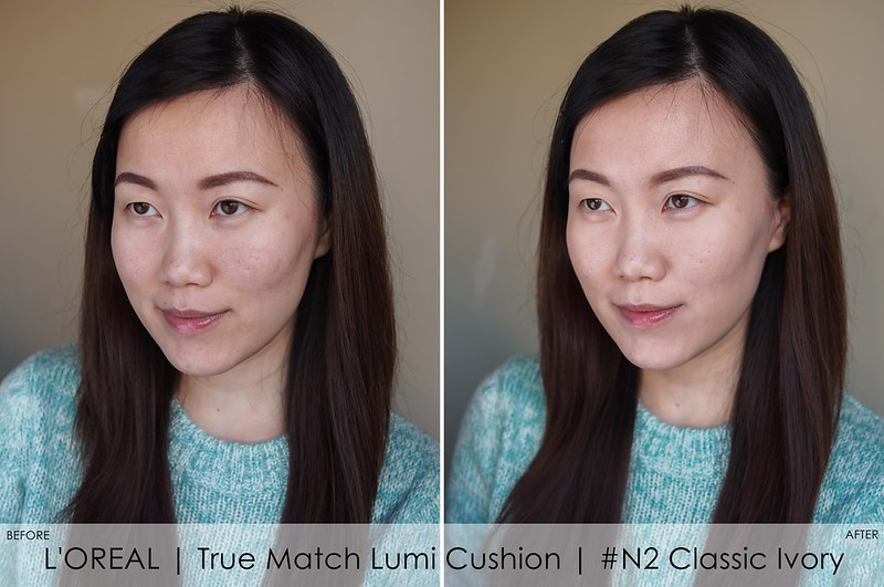 L'Oreal Lumi Cushion before after