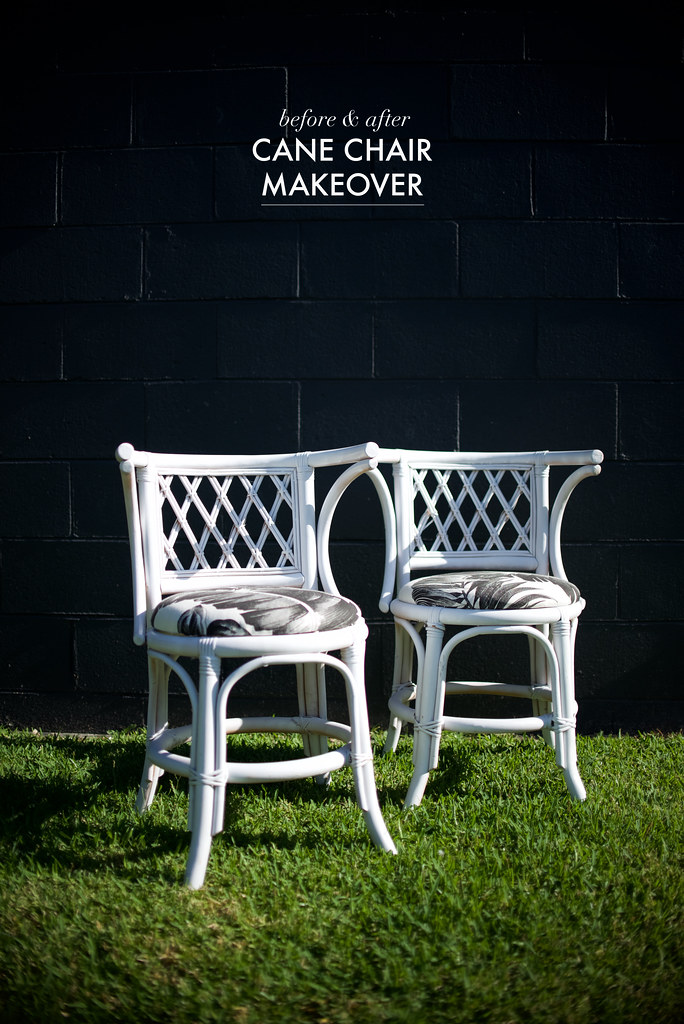 before and after cane chair makeover