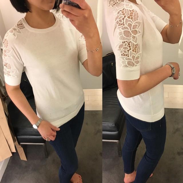 Ann Taylor Lacy Short Sleeve Top, size XS regular