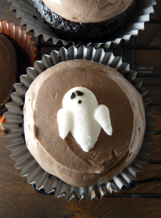 Aquafaba Royal Icing Ghosts and Pumpkins