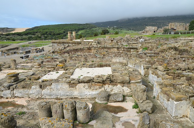 View of the Capitolium, three tetrastyle temples dedicated to the Capitoline Triad (Jupiter, Minerva, Juno), most probably built in the second half of the 1st century AD, Baelo Claudia, Baetica, Spain