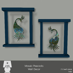 [Park Place] Mosaic Peacocks Wall Decor