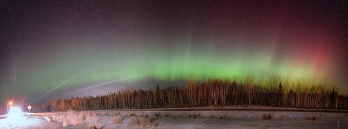 Highway Lights VS Northern Lights Panoramic