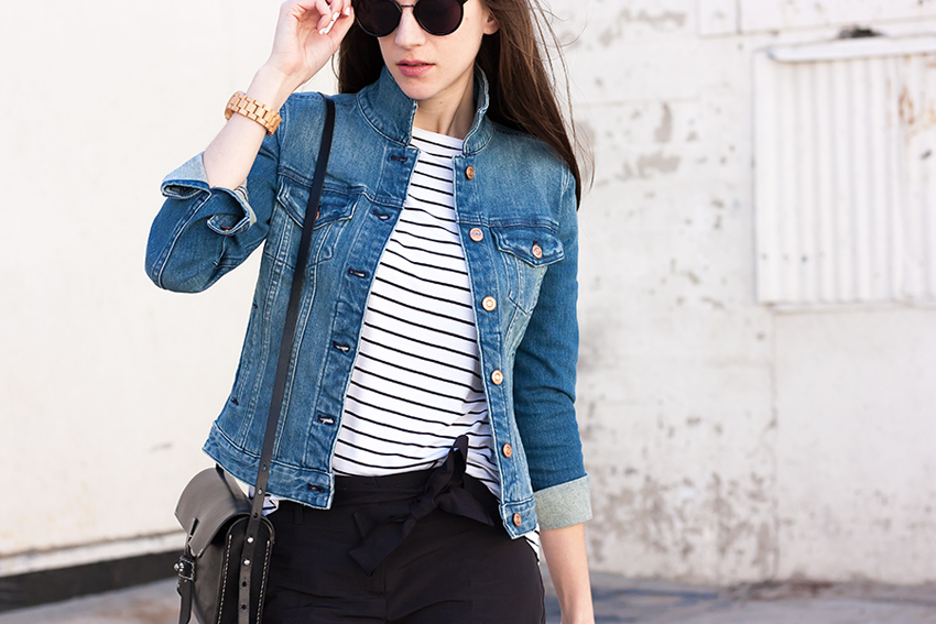 Striped Shirt, Denim Jacket