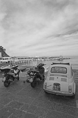 Italian seascape - fiat and scooters