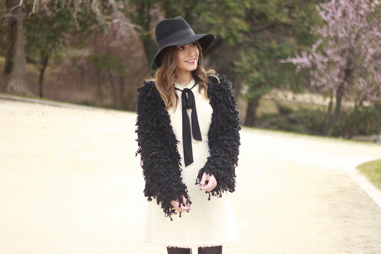 White tweed dress with bow black jacket hat outfit13