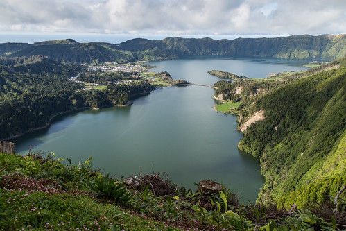 blue lake green portugal caldera volcanic azores