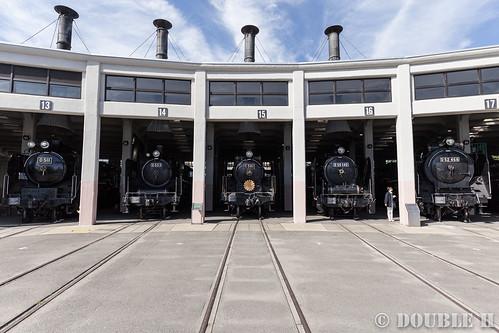 Umekoji Steam Locomotive Shed (18) D51-1, C55-1, C58-1, D50-140, D52-468