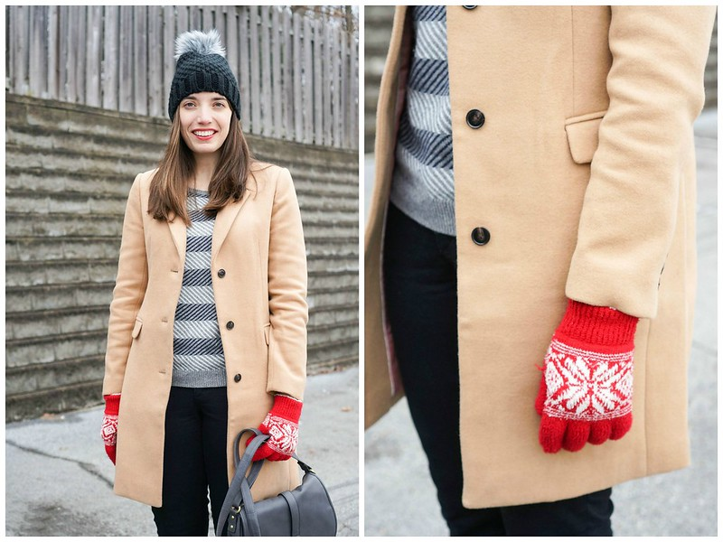 camel coat + gray stripe sweater + black jeans + black ankle boots + gray crossbody purse; Style On Target; winter outfit inspiration