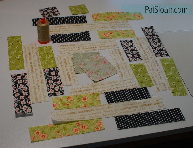pat sloan 2016 Aurifil block 1 fabric layout