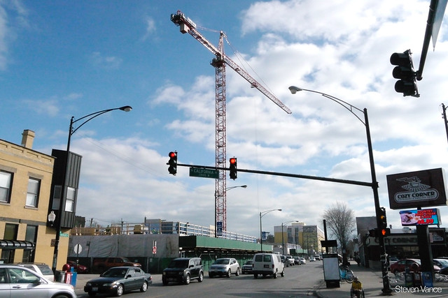 2237 N Milwaukee: Crane in the sky