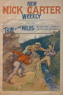 """Trim in the wilds, or, Hunting a criminal on the dark continent"" in New Nick Carter weekly (New York, N.Y. : 1897), no. 11"