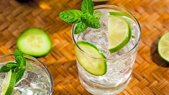 Gin and tonic with cucumber drink, Gin and tonic r…