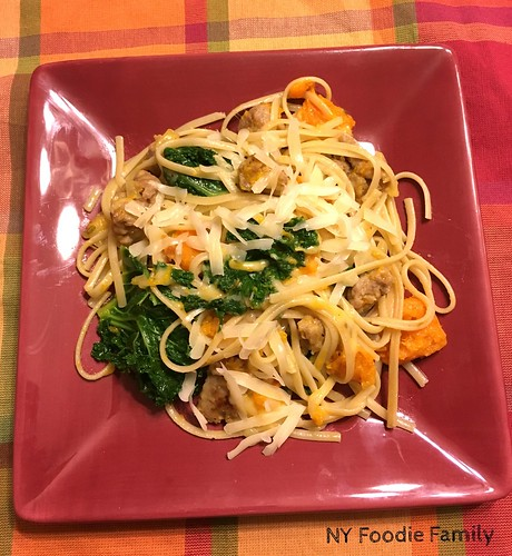 Kale, Sausage and Butternut Squash Linguini