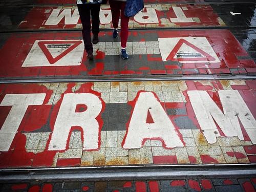 'Tram! - #Brussels #Belgium #street #photography #tram #rain #crossing #straßenbahn #streetcar #city