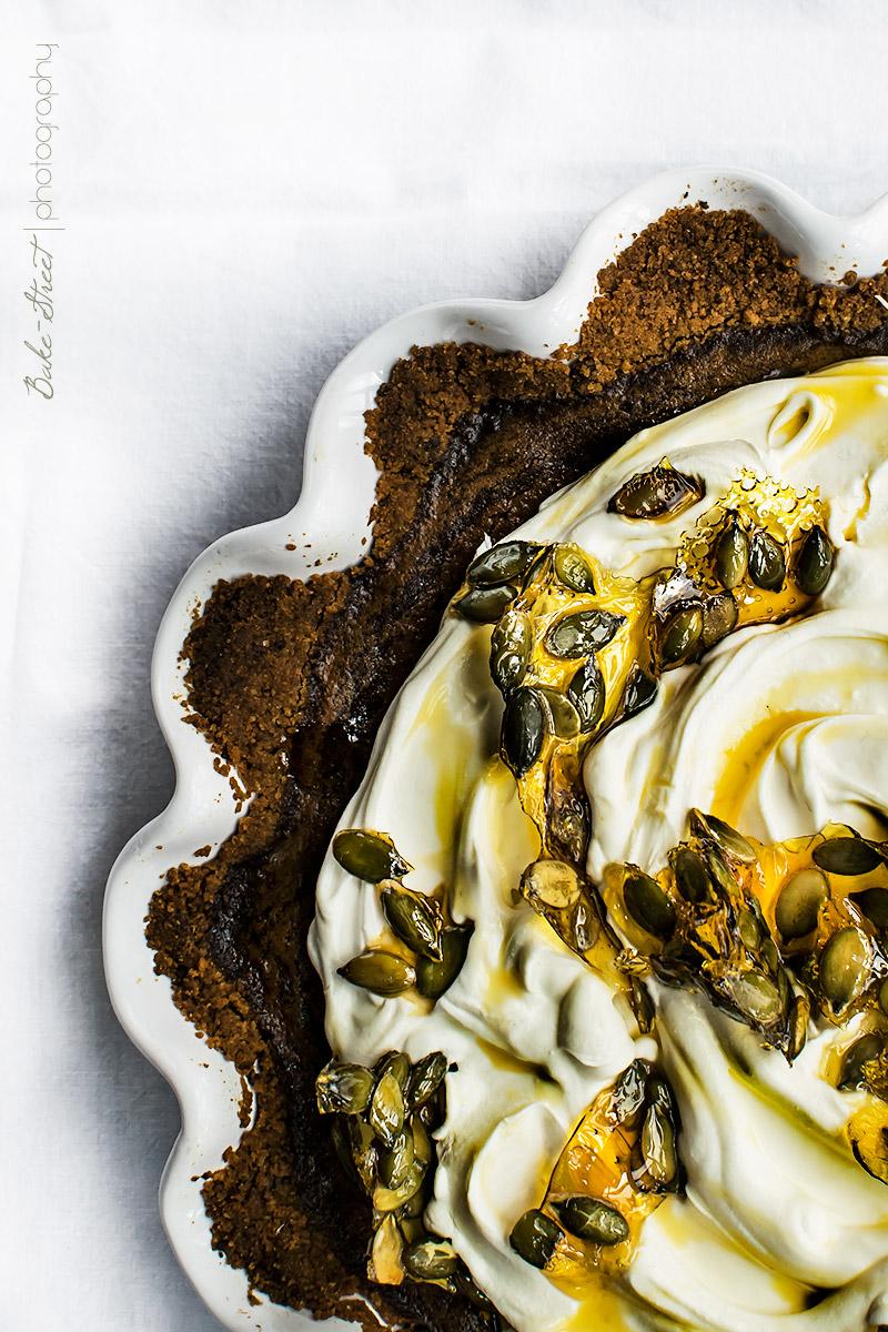 Tarta de calabaza y chocolate al caramelo