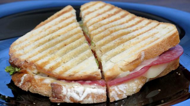 Salami and provolone panini