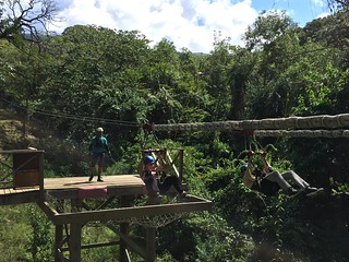 Zip lining with Sky Safari Tours at Wingfield Estate St. Kitts